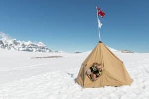 Kids in tent Antarctica